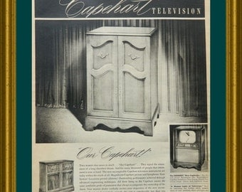 Vintage TV Ad for Capehart Television - Magazine Ad of a Floor-Model TV - Media Room Wall Art or TV Room Decor