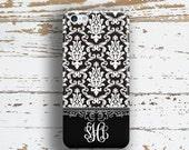 Monogram Iphone 5c case, Damask Iphone 6 + case, Floral iPhone 5s case, Elegant iPhone 6s case, Winter fashion accessory, Black white (9762P