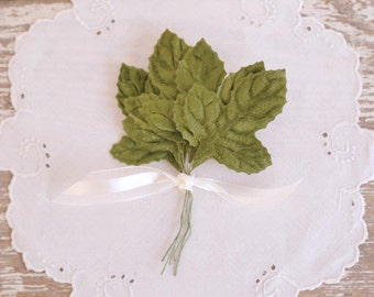 Vintage Green Leaves millinery velvet craft picks fabric craft supply set of 6