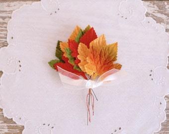 Vintage Maple Leaves - millinery velvet orange red green craft picks fabric craft supply set of 8