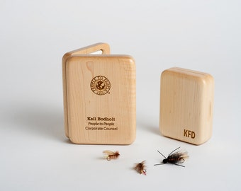 Personalized Fly Box, Engraved Mens Gift, Custom Engraved Fishing Fly Box, One Wood Fly Fishing Box, Best Man, Groomsman Gift