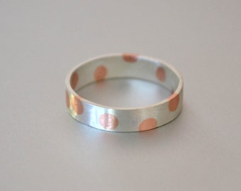 Spotty Ring - Silver Copper Married Metal Ring