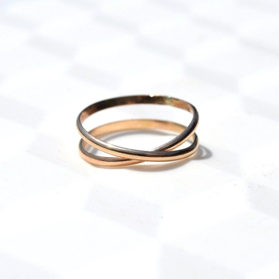 gold infinity band criss cross ring simple wedding band