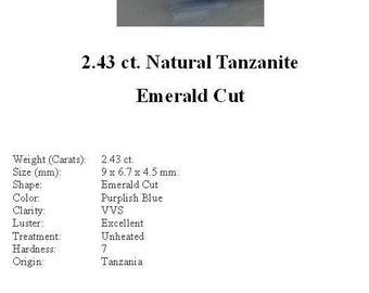 TANZANITE - Stunning  2.43 ct. Violet Blue Tanzanite in a Beautiful Emerald Cut...