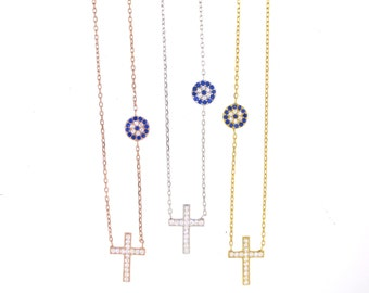 Dainty Evil Eye Cross Necklace-Silver