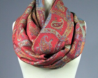 Paisley  Infinity Scarf , Pashmina , Orange scarf, spring scarf