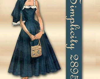 Simplicity 2895 1940s Dress Pattern Vintage Daytime Tea Length Sundress or Floor Length Gown with Swingback Jacket