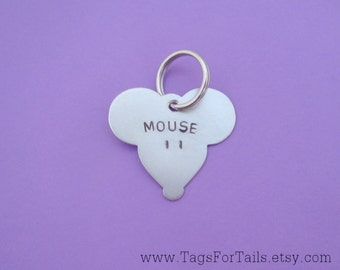 Mouse Pet ID Tag - Custom Dog or Cat Pet ID Tag- Handmade