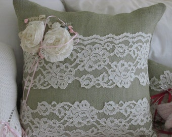 Feminine Tactil,  Soft Sage Green Burlap Pillow, with Vintage Wedding Lace, Lace Roses, Vintage Buttons