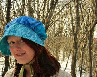 TurquoiseSun Bonnet~ prairie style cotton sunhat- blue, turquoise, paisley, tie-dyed