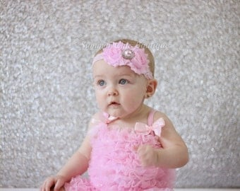Baby Headband, Infant Headband, Toddler Headband, Girls Headband - Shabby Chic Headband Light Pink Headband, Easter Headband