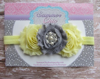 Baby Headband, /infant Headband, Newborn Headband, Toddler Headband, Shabby Chic Headband Yellow and Gray Headband