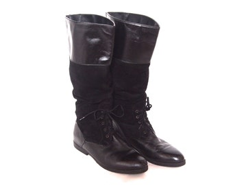 size 8 8.5 black suede and leather EQUESTRIAN boots