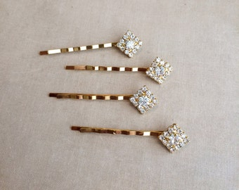 gold Bridal Crystal Hairpins 4 pc Square Diamond, gold hair pin, art deco hair pin, art deco,hair accessory GOLD SQUARE SMALL