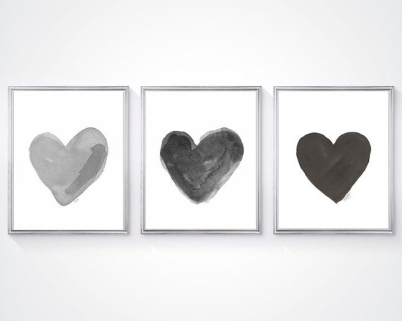 Black and White Nursery Decor, Set of 3 - 8x10 Watercolor Hearts Prints