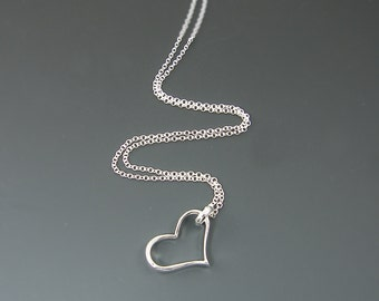 Large Open Heart Necklace - Simple Minimalist Silver Heart Pendant Charm Your Choice of Long Chain 24 30 36  SJ1-2