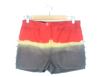 Studded Shorts Dip Dyed Spikes High Waist