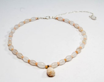 Peach Necklace, Delicate Pendant Necklace, Creamy White, Peaches and Cream Necklace, Stone Jewelry, Marble and Snowy Quartz Bead Necklace