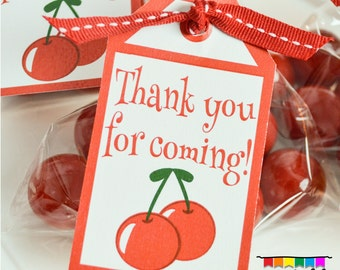 INSTANT DOWNLOAD CHERRY Party Favor Tags - Please Read Description Thoroughly - Printable Parties to Go