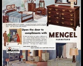 Items Similar To 1951 Mengel Furniture Bedroom Original Print Ad Mid Century