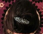 Silver Hair Clip, Leaf Barrette, Alligator Hair Clip, Branch Hair Clip, Brass Barrette, Boho Barrette, Goddess Hair Piece