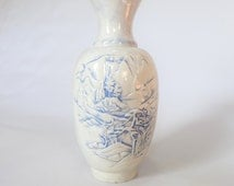 blue & white handpainted and crafted oval landscape scenery ceramic 70's vase