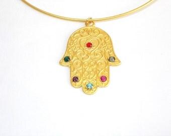 Gemstone Golden Hamsa Choker necklace, gold luck Fatma Ana necklace, Jewish jewelry, Charm necklace, Kabbalah Necklace, Hand of God