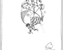 Running Away - Lighter Than Air - Art by W.Heath Robinson (1921.)   - Vintage Art, Story Book Art, Family Art, Children's Art