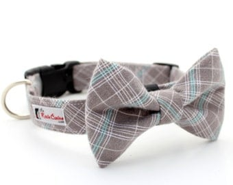 Plaid Flannel Dog Collar (Grey, Gray, Turquoise, White) (Matching Plaid  Bow Tie Separately)