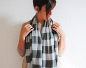 Gray Silver Striped Infinity Scarf - Gift for Her - Mother's Gift Scarf - Spring Scarf