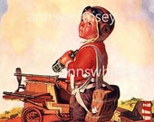 "The Littlest Pilot, Little Boy, His ""airplane"" and HandMade Binoculars - Wonderful Restored Antique Print, Affordable Wall Art  #185"