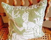 Goddess vintage lace on linen sachet pillow filled with fragrant rose buds and lavender; abundance and love