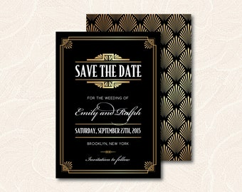 Printable Save the Date invitation - Diy Save the date invitation - Art Deco Save the Date