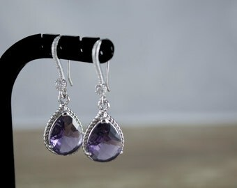 Wedding Jewelry. Bridal Earrings. Bridesmaid Earrings. Amethyst Glass Teardrop Earrings. Rhodium Plated Cubic Zirconia Earwires