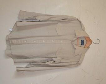 Vintage Khaki Dress Shirt Men's Button Up Shirt Military Style Shirt Aviator Shirt with Applets Beige Shirt Size XL to XXL