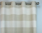 Oatmeal Beige Gray Natural Linen Cabana Horizontal Stripe Curtains - Grommet - 84 96 108 or 120 Long by 25 50 Wide - Optional Blackout