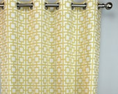Pale Yellow Gold White Modern Geometric Squares GiGi Curtains - Grommet - 84 96 108 or 120 Long by 25 or 50 Wide - Optional Blackout Lining