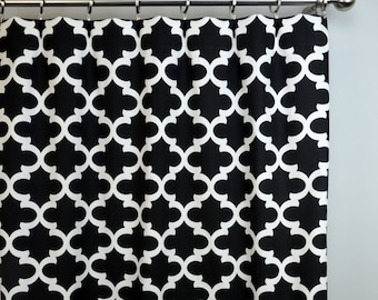Ready To Ship - 3 Panels 50W x 84L  Rod Pocket with Blackout Lining in Black and White Fynn Quatrefoil Moroccan Lattice Trellis Print
