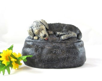 Ceramic Engraved Custom Airedale Terrier Painted Cremation Urn - hand made pet urn