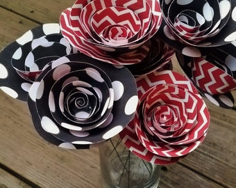 Paper Flower Bouquet - 10 White Polka Dot & Red Chevron Paper Flowers  - Handmade Paper Flowers for Brides, Weddings, Showers, Birthdays
