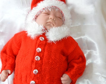 Baby Santa Suit 0-3 months  or Will Fit a 22 inch Reborn Baby Doll Ready to Ship
