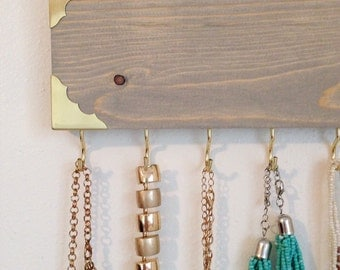Jewelry Hanger / Jewelry Organizer / Rustic Gold Metal Edge Accessory Necklace Wall Hanging / Hooks / Gray Wood Stain / Holiday Gift
