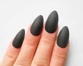 Matte Black Stiletto Nails, Almond Nails, False Nails, Acrylic Nails, Fake Nails, Press on, Nails, Matte, Black, Long Nails
