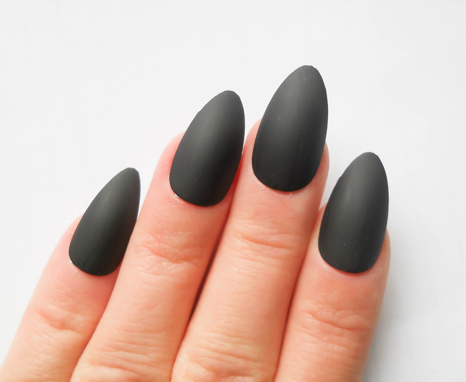 Matte Black Stiletto Nails
