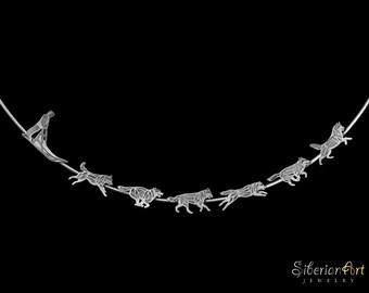 Siberian Husky Team Halskette - Sterling silber