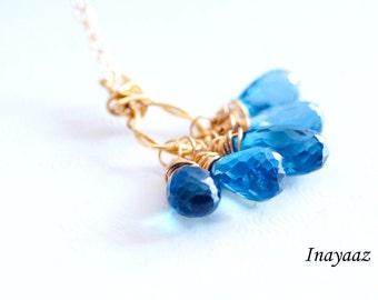 Genuine London blue Topaz cluster necklace Semiprecious Gemstone Gold Filled Jewelry Wire Wrapped Decmber Birthstone