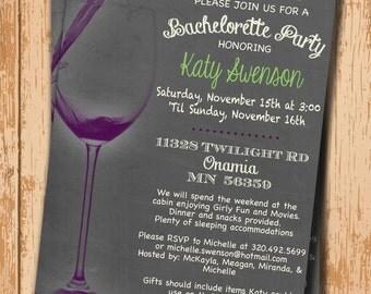 Wedding Shower Invitation. Bridal Shower Invitation. Bachelorette Party Invite. Printable Invitation. Wine Party Invite. Chalkboard DIY.