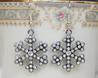 Snowflake Earrings , Rhinestone Snowflake , Silver Snowflake Jewelry , Christmas Earrings