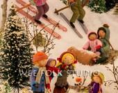 4 card set - Winter Play - Wee Folk