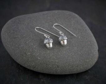 Silver Acorn Earrings    PMC Fine Silver Clay Jewellery    Handmade Recycled Silver Earrings